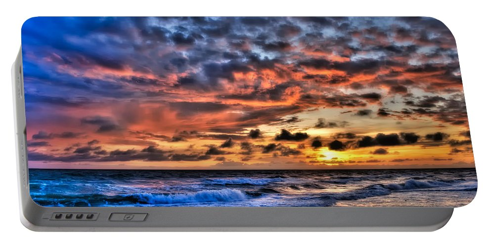 Sunset Portable Battery Charger featuring the photograph Barefoot Beach Sunset by Rich Leighton