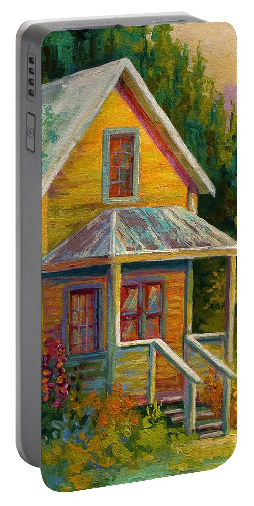 Historic Portable Battery Charger featuring the painting Barkerville Orphan by Marion Rose