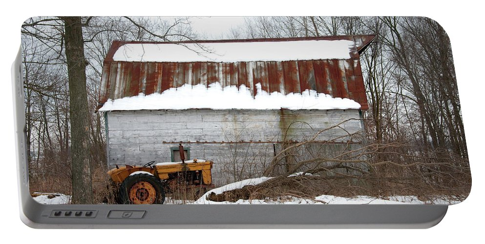 Barn Portable Battery Charger featuring the photograph Barn And Tractor by David Arment