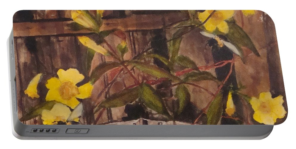 Flower Portable Battery Charger featuring the painting Barn Door Hinge by Jean Blackmer