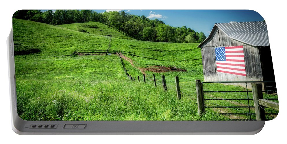 Farm Life Portable Battery Charger featuring the photograph Barn Flag by Jim Love
