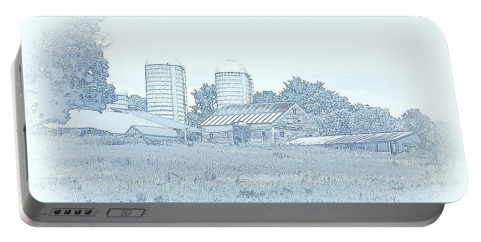 Landscape Portable Battery Charger featuring the mixed media Barn In Blue by Susan Lafleur