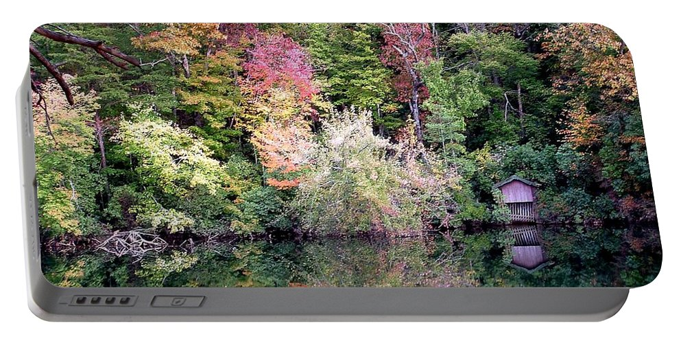 Nature Portable Battery Charger featuring the photograph Barn In The Mirror by Robert Meanor