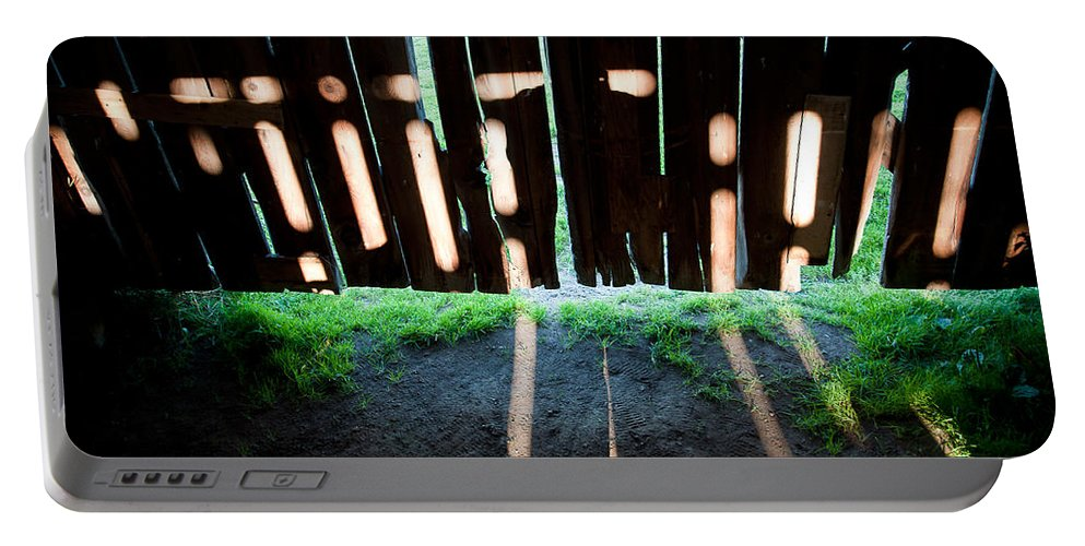 Barn Portable Battery Charger featuring the photograph Barn Interior Shadows by Steven Dunn