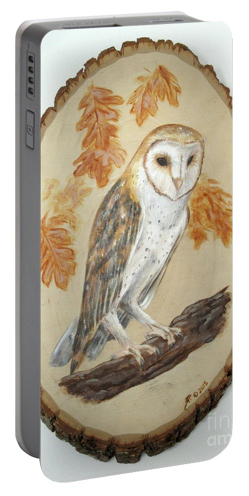 Owl Portable Battery Charger featuring the painting Barn Owl - Enduring Insight by Brandy Woods