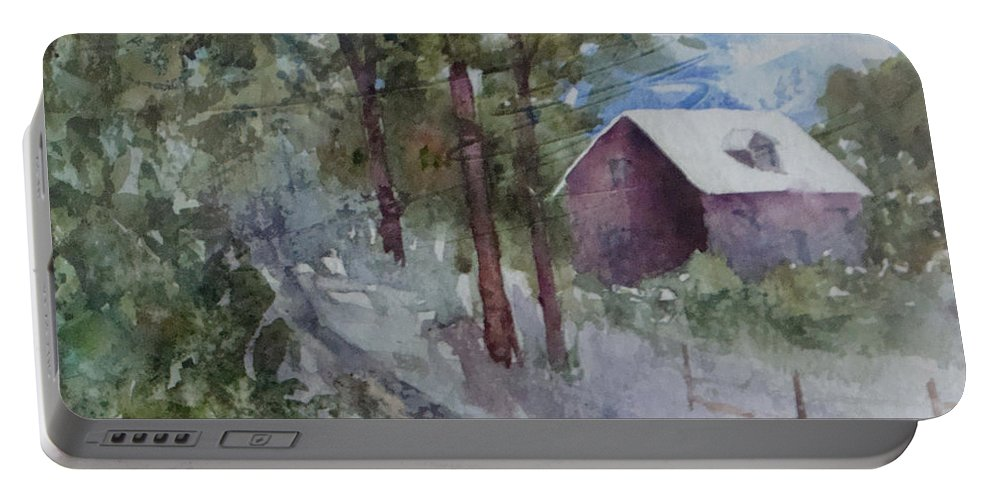 Barn Portable Battery Charger featuring the painting Barn Road by Renee Chastant