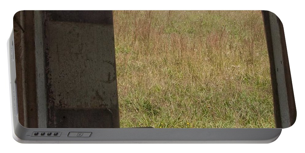 Barn Portable Battery Charger featuring the photograph Barn Window View by Steven Natanson