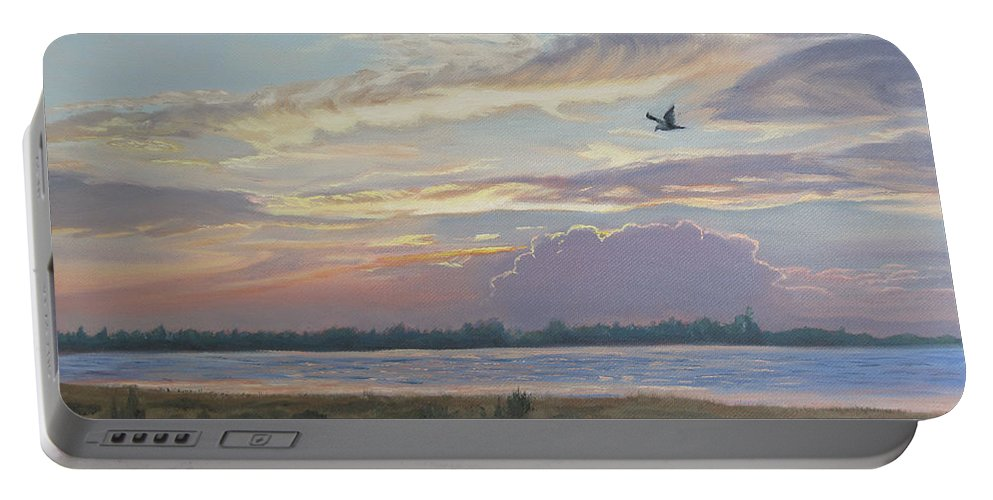 Sunset Painting Portable Battery Charger featuring the painting Barnegat Bay At Sunset by Lea Novak