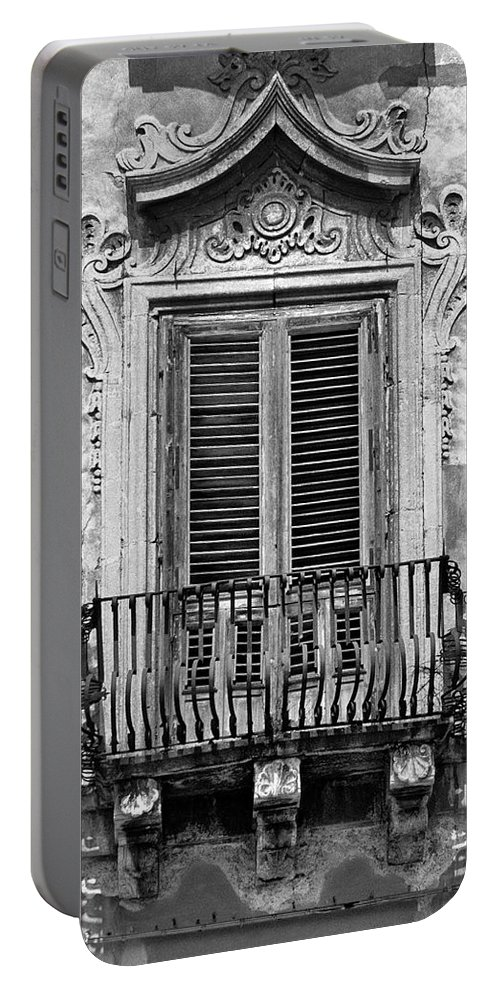 Baroque Portable Battery Charger featuring the photograph Baroque Balcony Window. Messina, Sicily.  Black And White by David Lyons