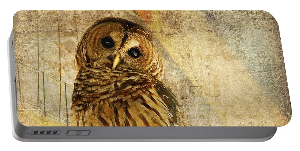 Owl Portable Battery Charger featuring the photograph Barred Owl by Lois Bryan
