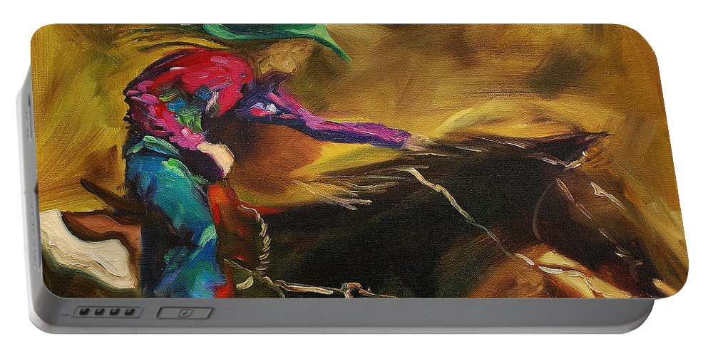 Western Art Portable Battery Charger featuring the painting Barrel Racer by Diane Whitehead