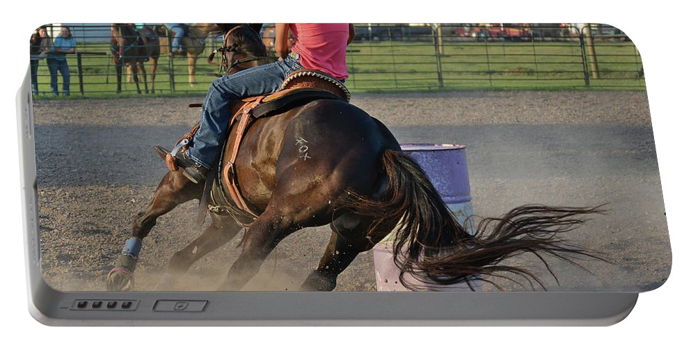 Barrel Racing Portable Battery Charger featuring the photograph Barrel Racing by Steve Vaitl