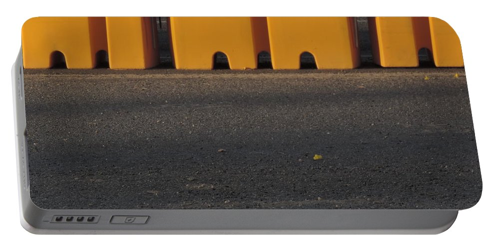 Roadways Portable Battery Charger featuring the photograph Barriers Of Yellow by Bill Tomsa