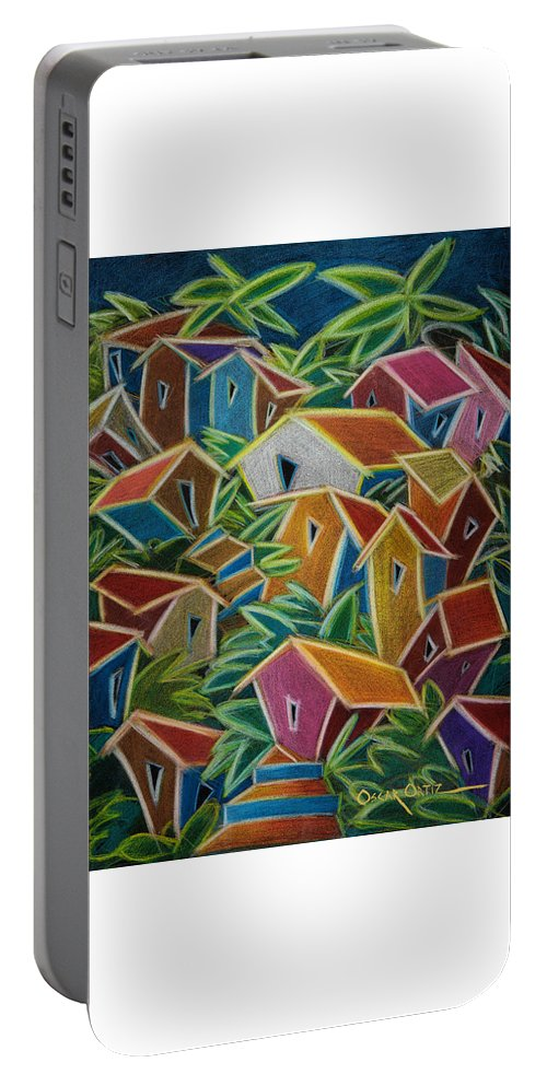 Landscape Portable Battery Charger featuring the painting Barrio Lindo by Oscar Ortiz