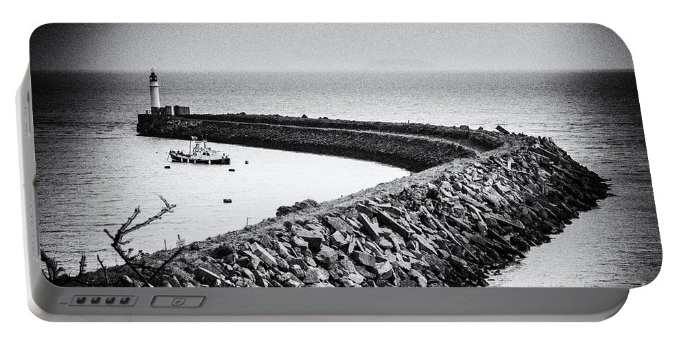 Barry Island Portable Battery Charger featuring the photograph Barry Island Breakwater Film Noir by Steve Purnell