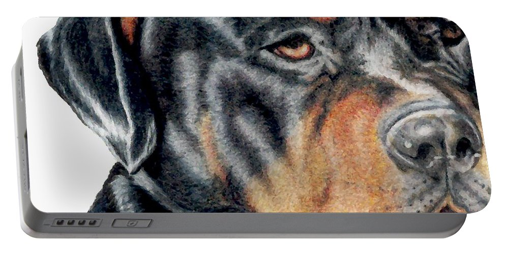 Rottweiler Portable Battery Charger featuring the drawing Bart Detail by Kristen Wesch