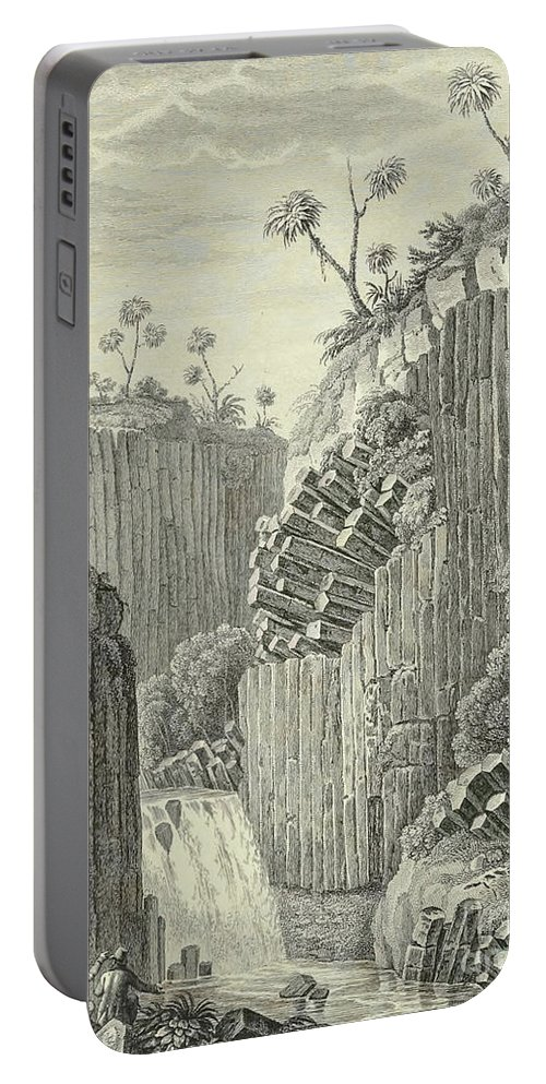 German Portable Battery Charger featuring the drawing Basalt Rocks And The Cascade De Regla, by Alexander von Humboldt
