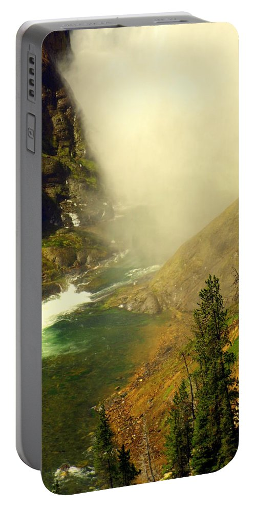Yellowstone River Portable Battery Charger featuring the photograph Base Of The Falls 2 by Marty Koch