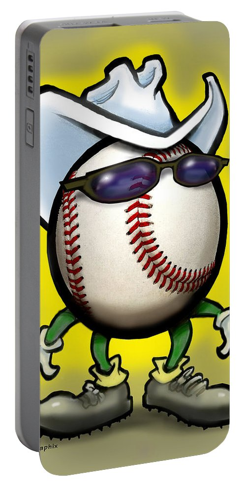 Baseball Portable Battery Charger featuring the greeting card Baseball Cowboy by Kevin Middleton