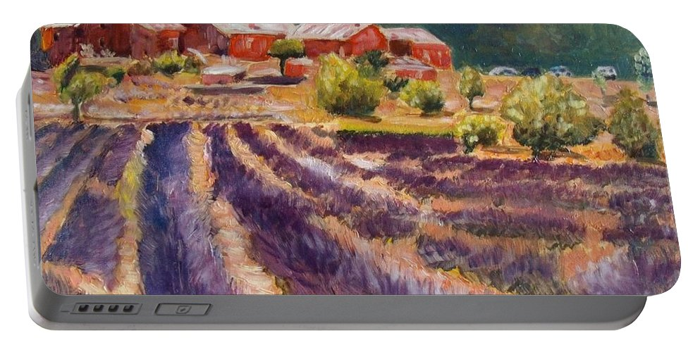 Landscape Portable Battery Charger featuring the painting Lavender Smell by Elena Sokolova