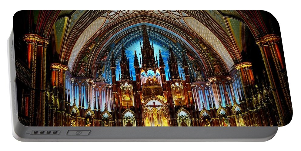 North America Portable Battery Charger featuring the photograph Notre - Dame Basilica - Montreal by Juergen Weiss