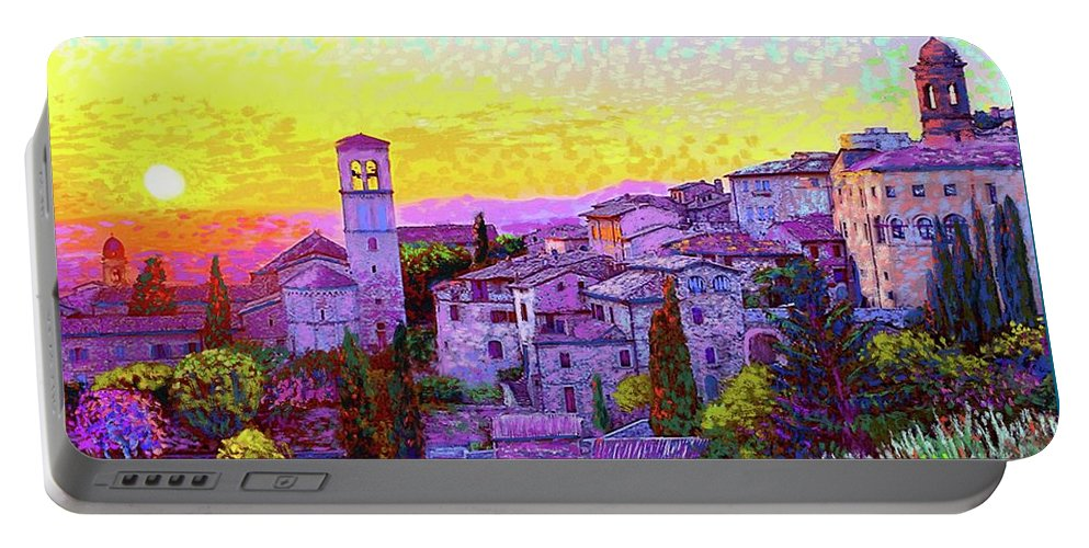 Italy Portable Battery Charger featuring the painting Basilica Of St. Francis Of Assisi by Jane Small