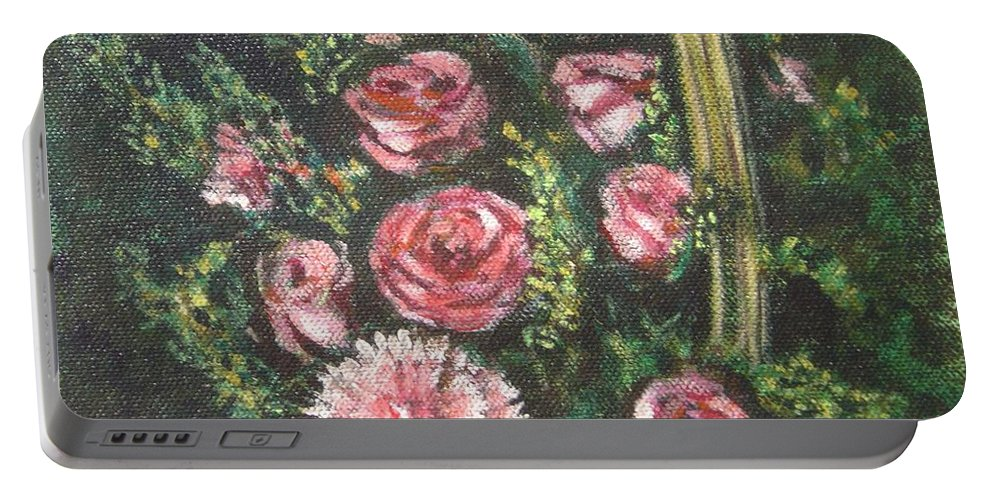 Basket Portable Battery Charger featuring the painting Basket Of Pink Flowers by Usha Shantharam