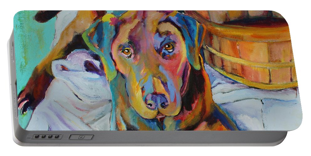Chocolate Lab Portable Battery Charger featuring the painting Basket Retriever by Pat Saunders-White