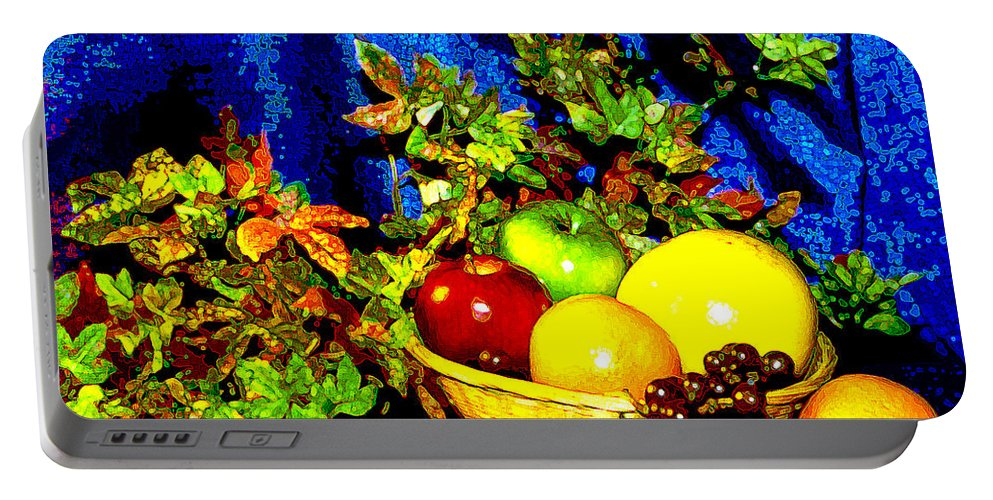 Fruit Portable Battery Charger featuring the photograph Basket With Fruit by Nancy Mueller