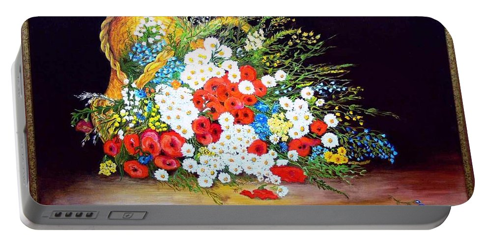 Summer Portable Battery Charger featuring the painting Basket With Summer Flowers by Helmut Rottler