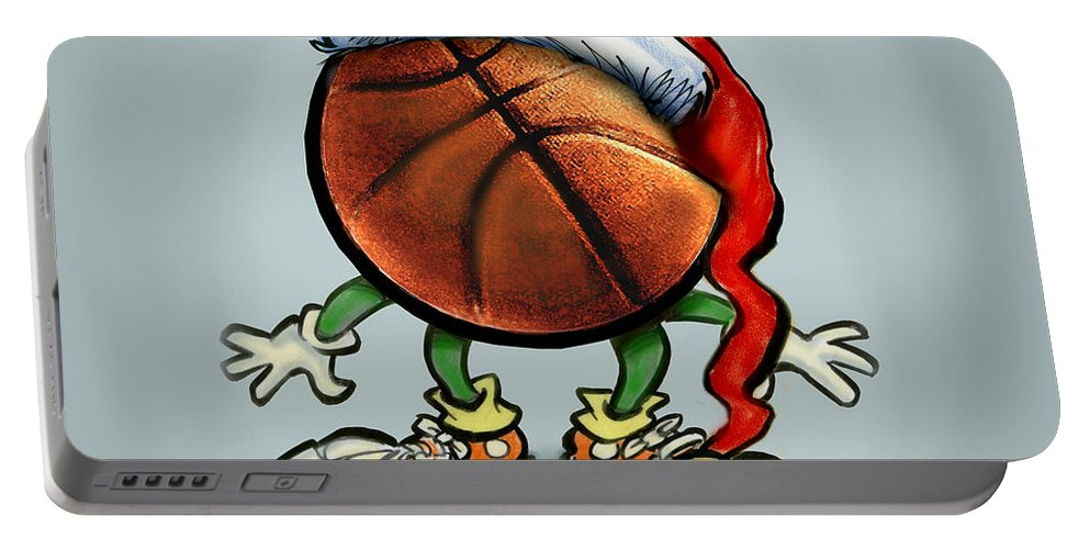 Basketball Portable Battery Charger featuring the greeting card Basketball Christmas by Kevin Middleton
