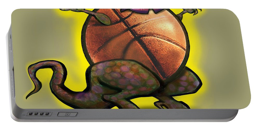 Basketball Portable Battery Charger featuring the digital art Basketball Saurus Rex by Kevin Middleton