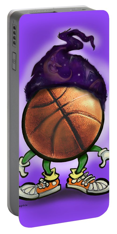 Basketball Portable Battery Charger featuring the greeting card Basketball Wizard by Kevin Middleton