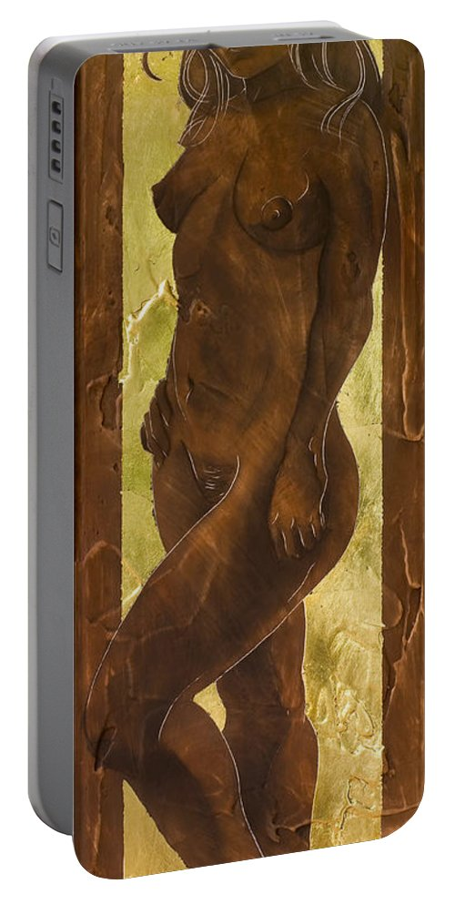 Nude Portable Battery Charger featuring the painting Basking In The Glow by Richard Hoedl