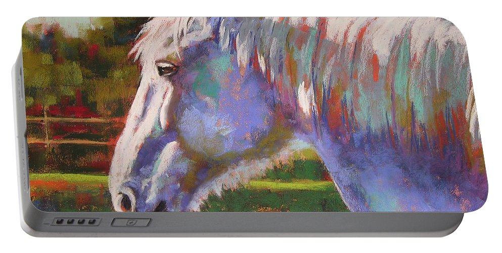 Horse Portable Battery Charger featuring the pastel Basquing In The Sun by Mary McInnis
