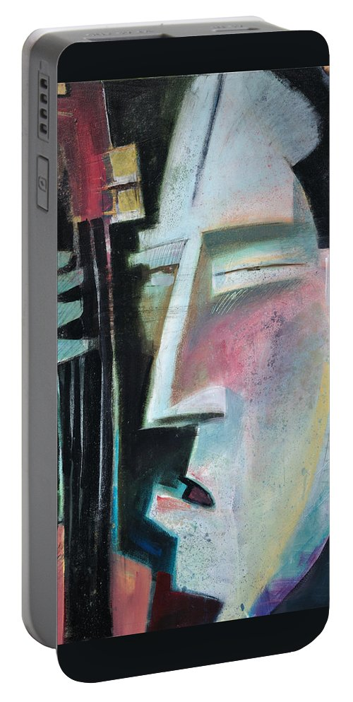 Jazz Portable Battery Charger featuring the painting Bass Face by Tim Nyberg