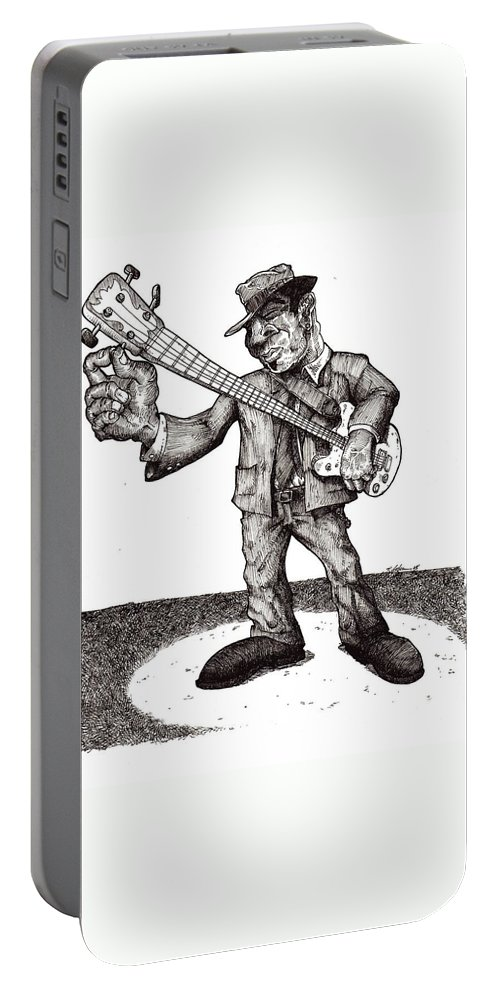 Blues Portable Battery Charger featuring the drawing Bass by Tobey Anderson