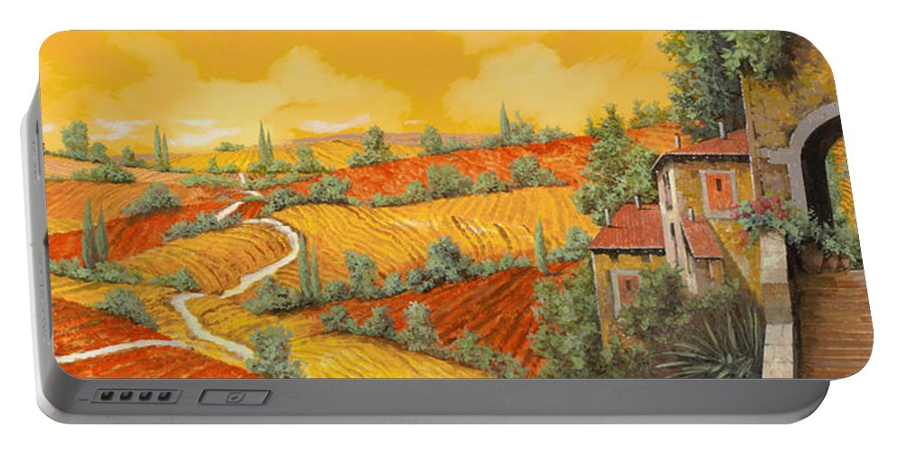 Tuscany Portable Battery Charger featuring the painting Bassa Toscana by Guido Borelli