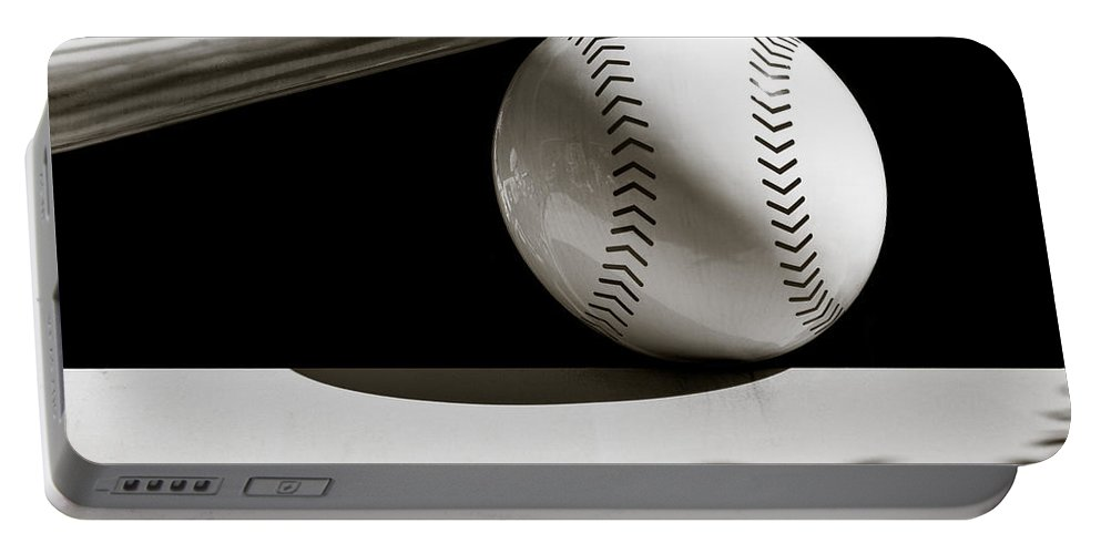 Baseball Bat Portable Battery Charger featuring the photograph Bat And Ball by Dave Bowman