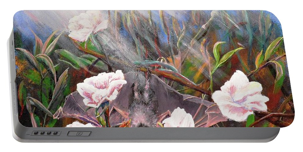 Bat Portable Battery Charger featuring the painting Bat In Rose Bush by Medea Ioseliani
