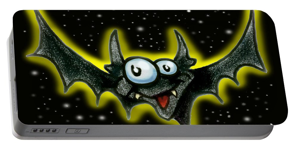 Bat Portable Battery Charger featuring the greeting card Bat by Kevin Middleton