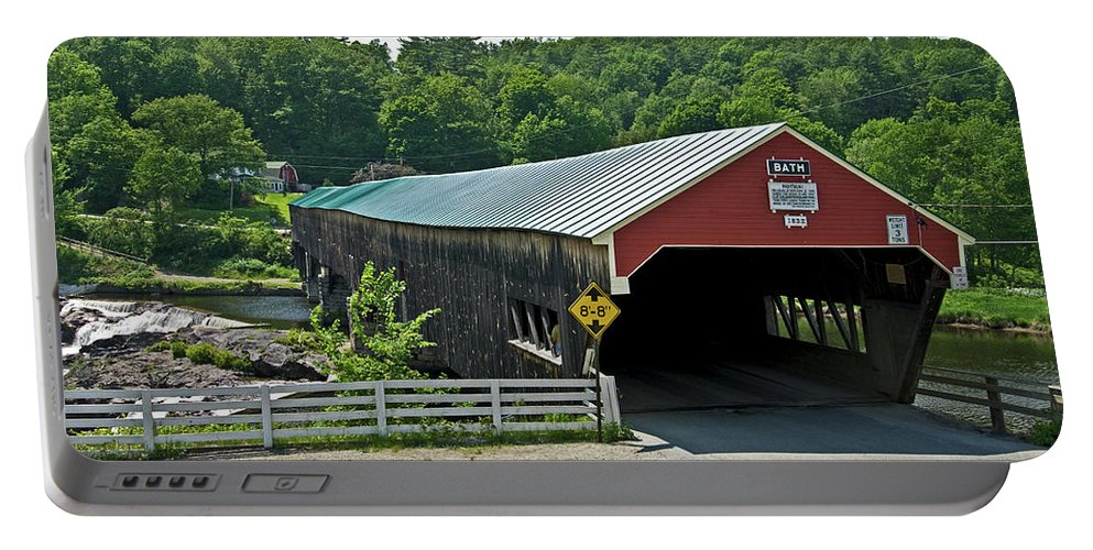 new England Covered Bridges Portable Battery Charger featuring the photograph Bath Bridge by Paul Mangold