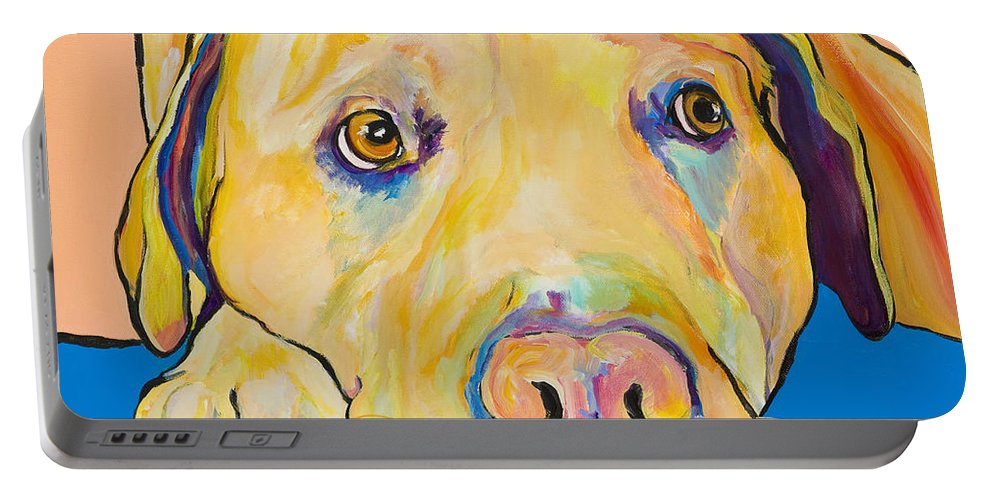 Dog Paintings Yellow Lab Puppy Colorful Animals Pets Portable Battery Charger featuring the painting Bath Time by Pat Saunders-White