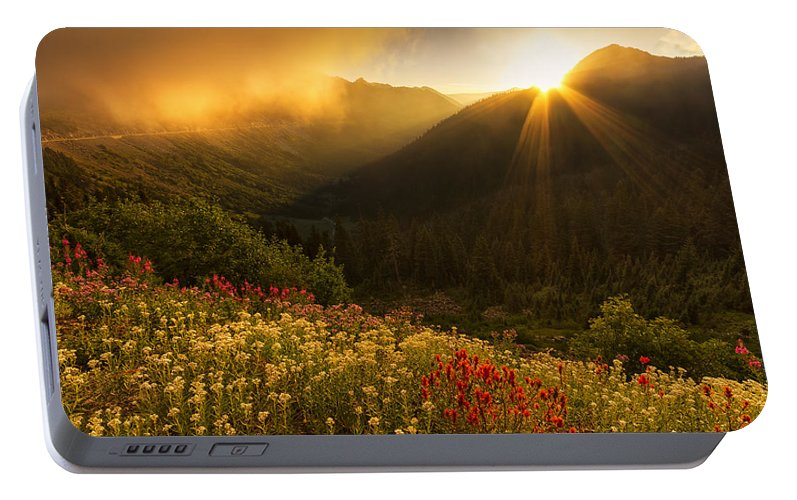 Chinook Pass Portable Battery Charger featuring the photograph Bathed In Light by Mark Kiver