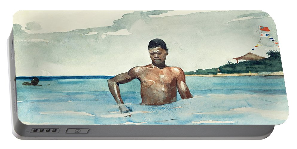 Winslow Homer Portable Battery Charger featuring the drawing Bather by Winslow Homer