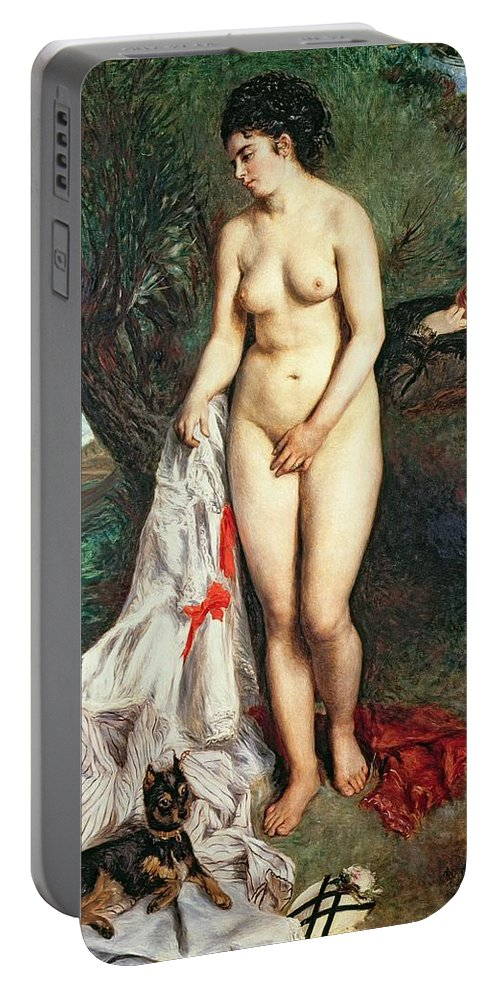 Bather Portable Battery Charger featuring the painting Bather With A Griffon Dog by Pierrre Auguste Renoir