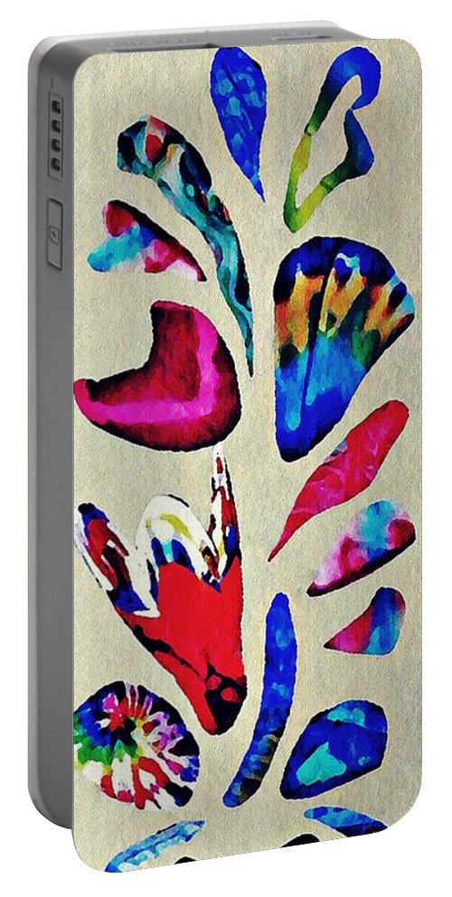 Flower Portable Battery Charger featuring the mixed media Batik Bouquet by Sarah Loft