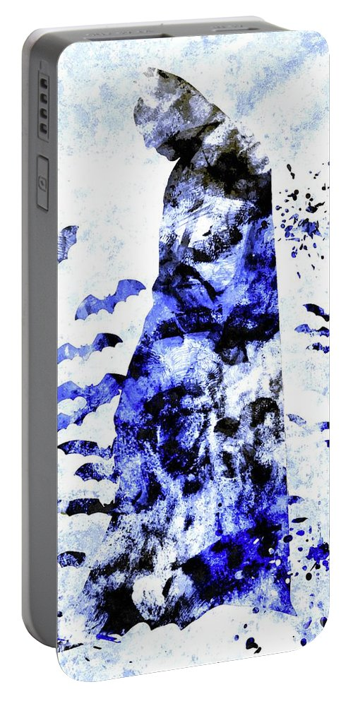 Batman Colored Grunge Portable Battery Charger featuring the mixed media Batman Colored Grunge by Daniel Janda
