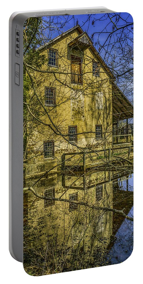Gristmill Portable Battery Charger featuring the photograph Batsto Gristmill Reflection by Nick Zelinsky