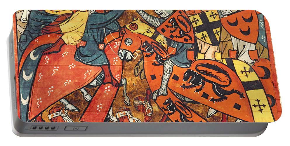 Knight Portable Battery Charger featuring the painting Battle Between Crusaders And Muslims by French School